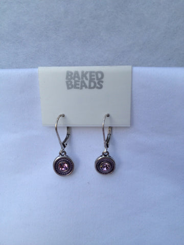 Small Round Purple Drop Earrings