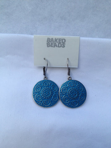 Large Blue Round Flower Earrings