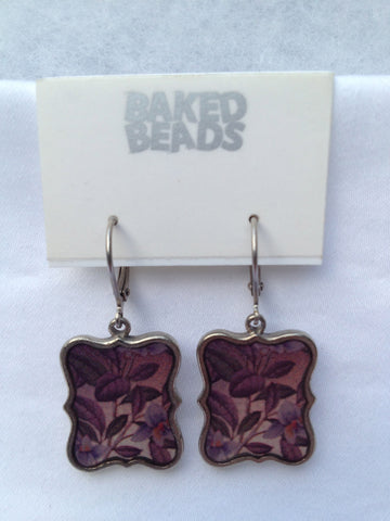 Large Purple Square Earrings