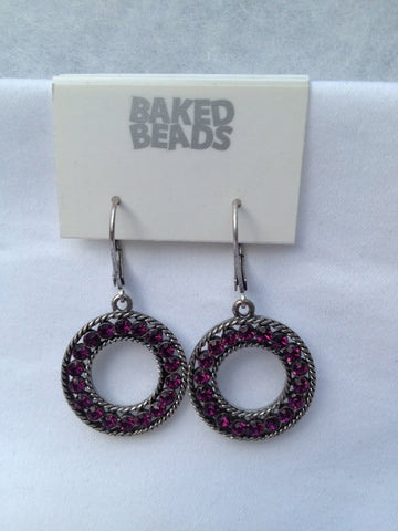 Round Purple Stone Earrings