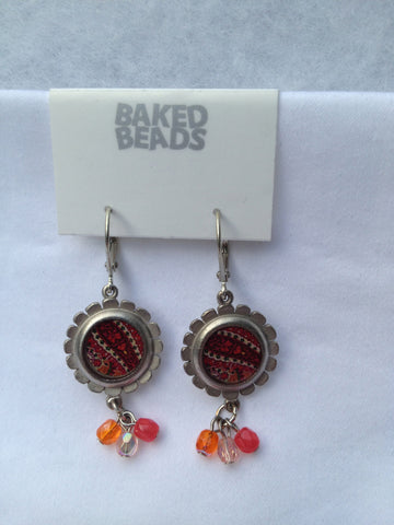 Orange & Purple Round Multi-Stone Earrings