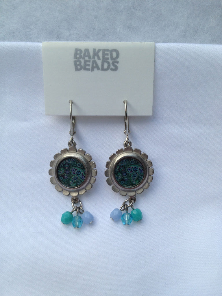 Blue & Teal Round Multi-Stone Earrings