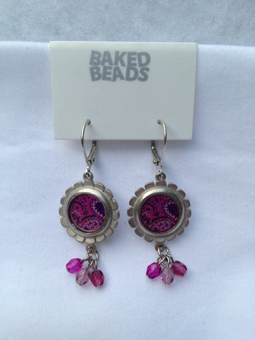 Lavender & Fuchsia Round Multi-Stone Earrings
