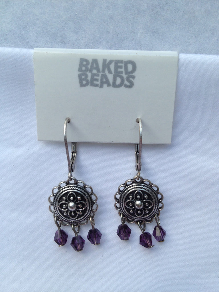 Silver & Purple Multi-Stone Earrings