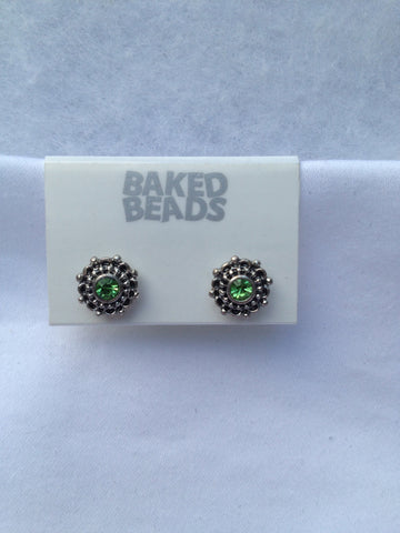 Green Round Stud Earrings