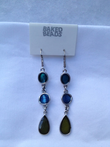 3 Stone Blue & Green Dangle Earrings