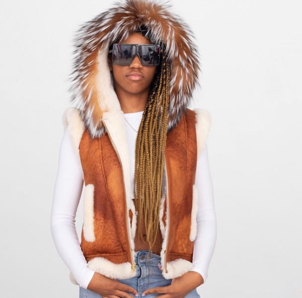 Women's Shearling vest with Hood