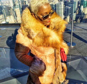 Women's Shearling with Red Fox Fur Collar and Trim