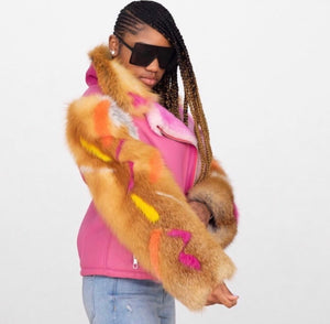 Women's Shearling Jacket with Fox Sleeves