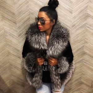 Pony fur jacket with silver fox fur collar and trim