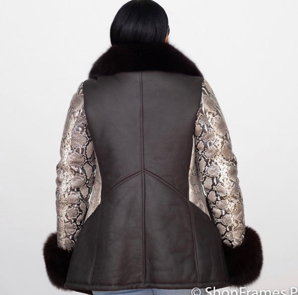Women's Shearling with Python Sleeves