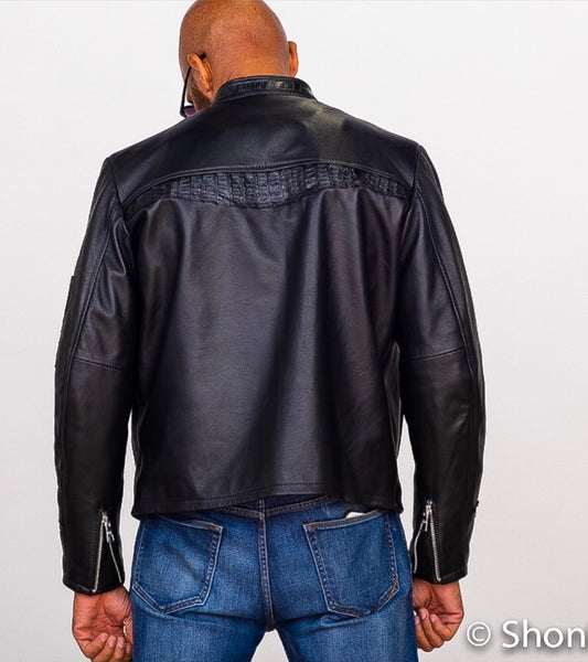 Lambskin Racer Jacket with Alligator Trim
