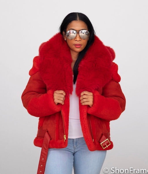 Women's Shearling with Fox fur hood