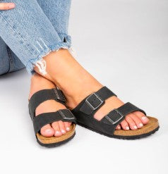 Open toe buckled adjustable strap slide sandals