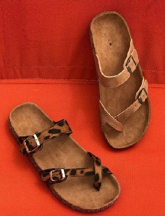 cork slide leopard sandals summer shoes