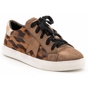 Leopard Print Lace Up Trendy Fashion Sneakers