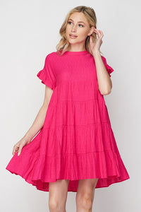 Solid Tiered Baby Doll Dress
