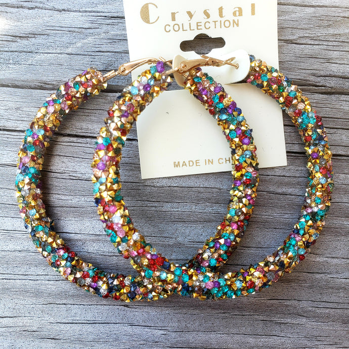 multicolor glitter hoops earrings