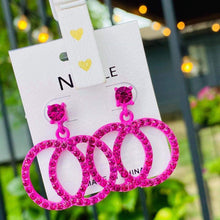 Load image into Gallery viewer, Bright Pink Sparkle Earrings