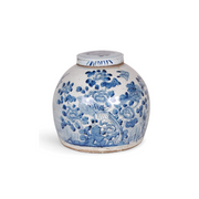 Blue and White Porcelain Floral and Bird Ginger Jar