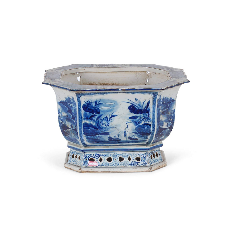 Blue and White Porcelain Oblong Octagonal Planter