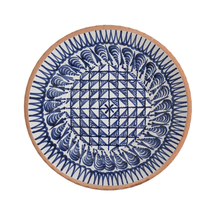 Mallorcan Shallow Geometric Bowl - Blue