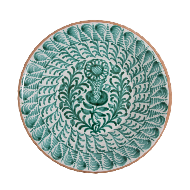 Mallorcan Shallow Floral Bowl - Green