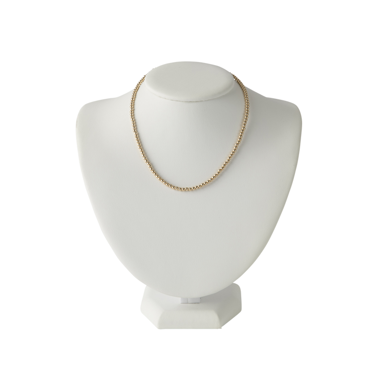 Gold Beaded Necklace - 3MM