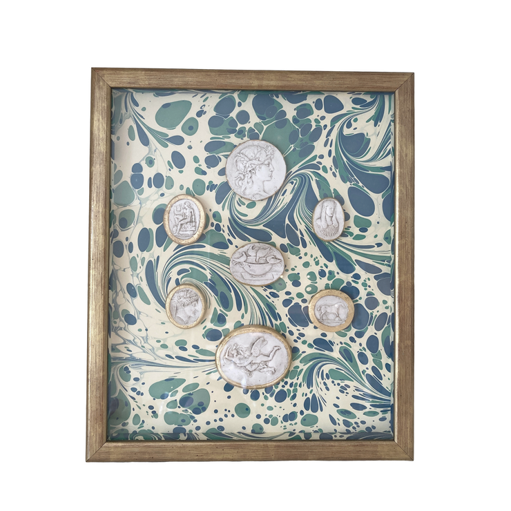 Framed Intaglio on Marbled Paper - Blue