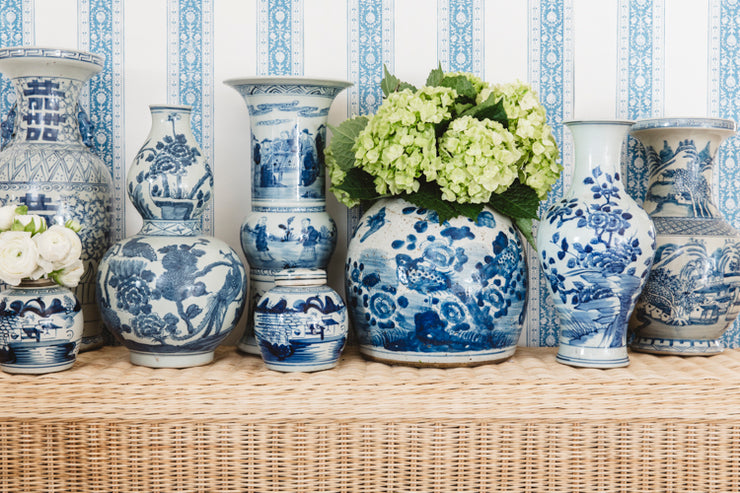 Blue and White Porcelain Floral and Bird Vase
