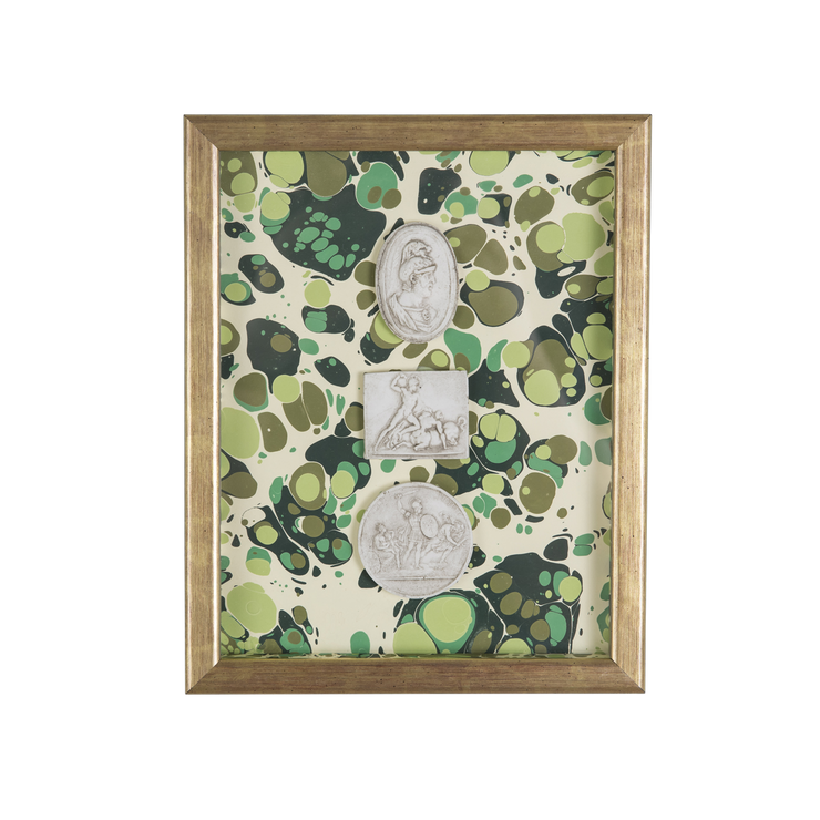 Framed Intaglio on Marbled Paper - Green