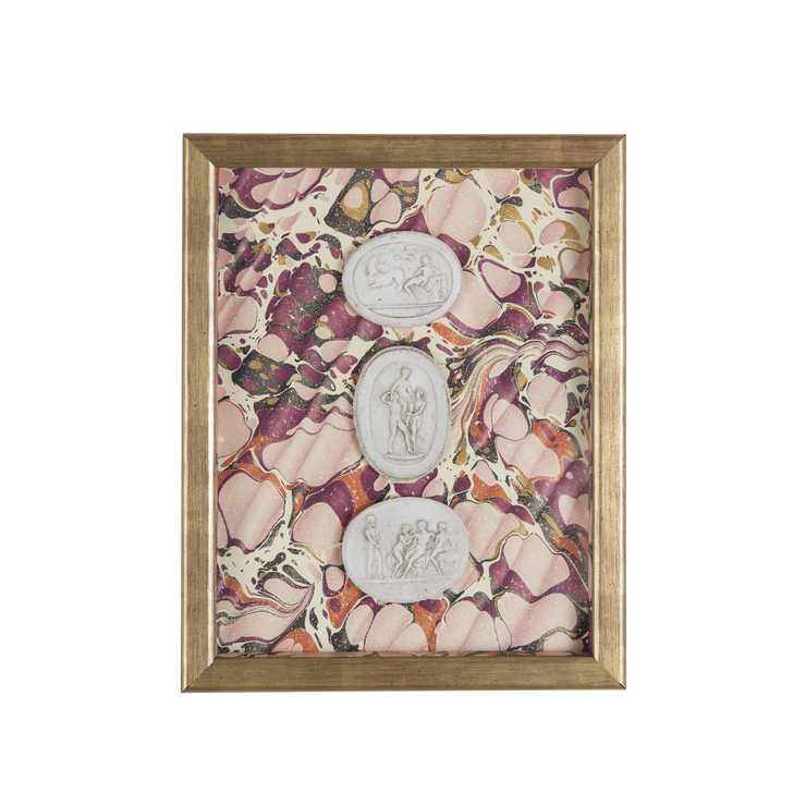 Framed Intaglio on Marbled Paper - Pink