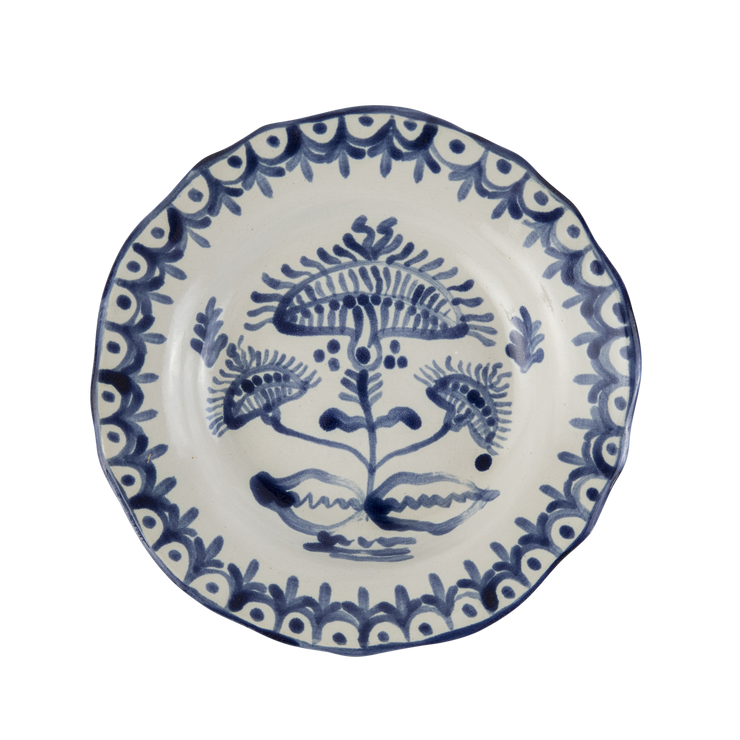 Zsuzsanna Blue and White Bordered Shallow Mughal Bowl