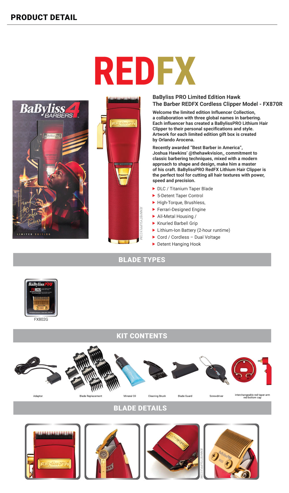 BaBylissPro Limited Edition Hawk The Barber RedFX Cordless Clipper