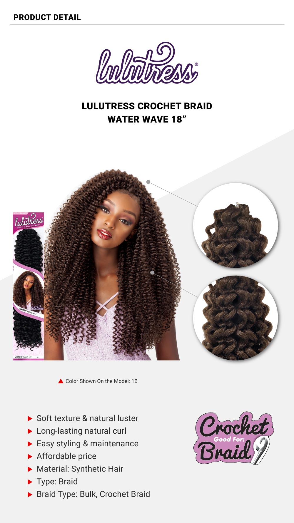 Sensationnel-Lulutress-Crochet-Braid-Water-Wave-18""