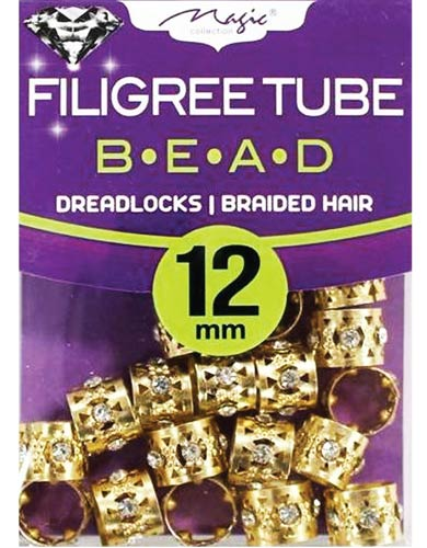 Magic Collection Filigree Tube Bead Gold With Rhinestone #013SDG