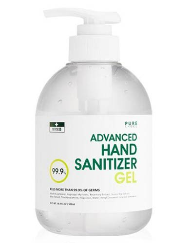 PURE LABEL ALCOHOL HAND SANITIZER GEL 500ML KILLS GERMS