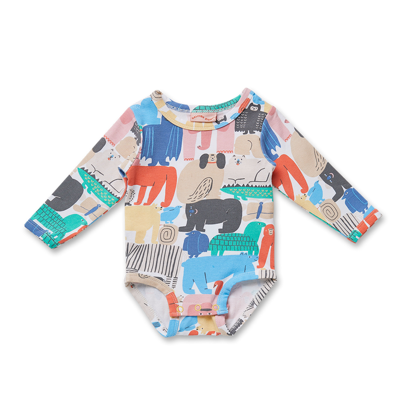 Animal Parade Long Sleeve Bodysuit