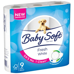 Baby Soft 2 Ply Toilet Paper White 9 Pack