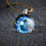 Sparkling ring moon necklace
