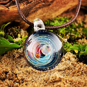 Planet earth - galaxy necklace - Helios jewelry
