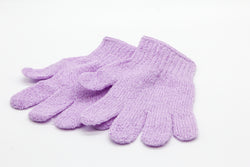 EXFOLIATING GLOVES PURPLE