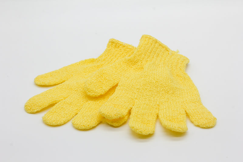 EXFOLIATING GLOVES YELLOW