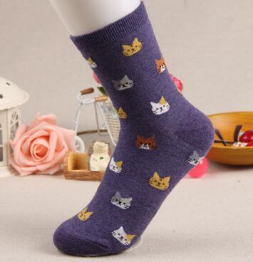 Jeseca 2019 Autumn Women Socks Cartoon Animal Cute Cat Sock for Girls Winter Thick Warm Cotton Sock for Ladies Christmas Gifts - 9020shop