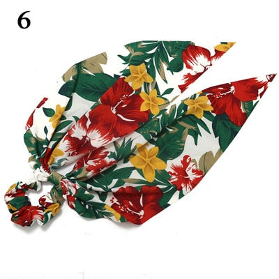 Ponytail scrunchie hair ties Scarf Elastic Hair Rope for Women Hair Bow Ties Scrunchies Hair Bands Flower Print Ribbon Hairbands - 9020shop