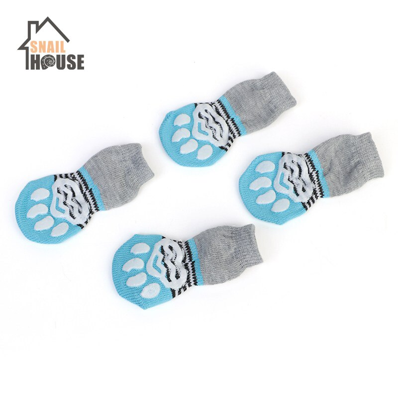 Snailhouse New 4 pcs/set Dog Cat Shoe Socks Indoor Soft Cotton Warm Antiskid Cute Printing Paws Easy Washing Pet Small Dog Socks - 9020shop