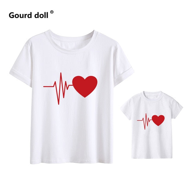 Cute Family Look Matching Clothes Mommy And Me Tshirt Mother Daughter Son Outfits Women Mom T-shirt Baby Girl Boys T Shirt - 9020shop