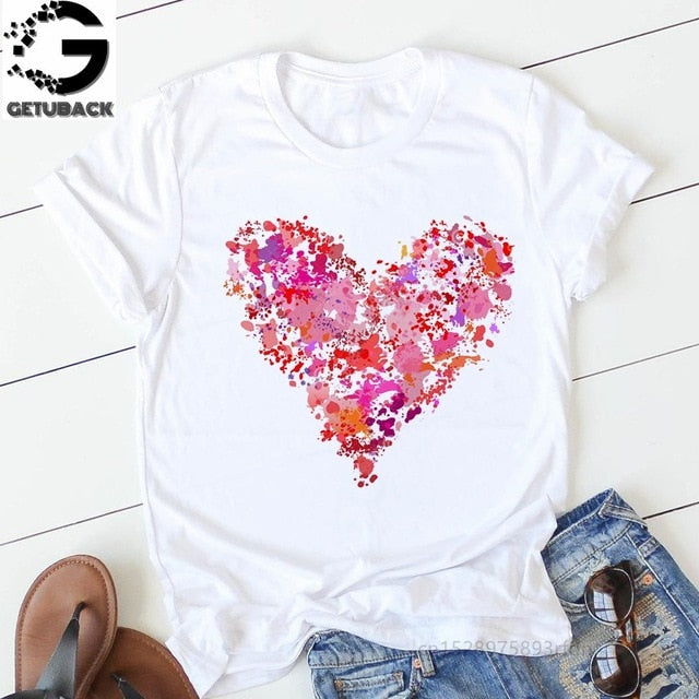 pink heart flower Print Women tshirt Cotton Casual Funny t shirt Gift 90s Lady Yong Girl Drop Ship S-894 Valentine's Day Gift - 9020shop