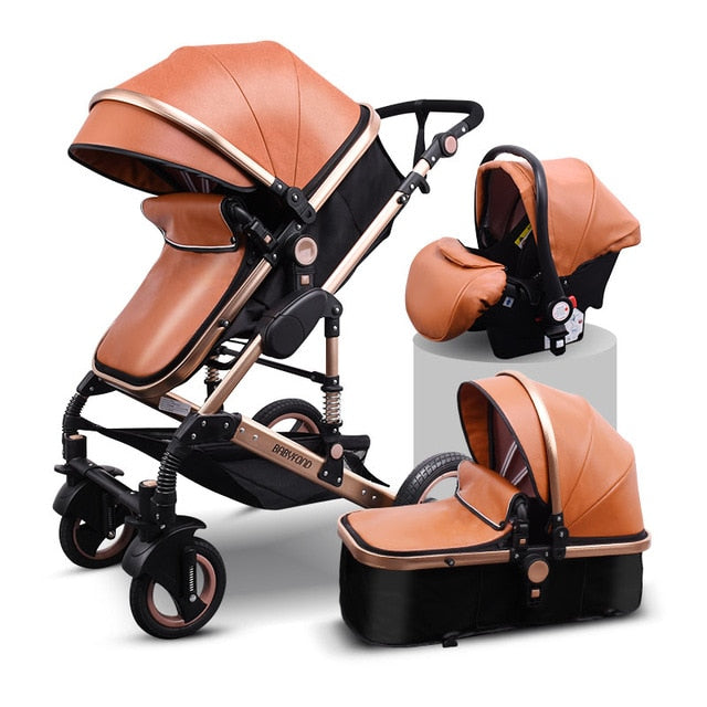 3 in 1 baby strollers and sleeping basket newborn 2 in 1 baby stroller Europe baby pram one parcel with car seat - 9020shop