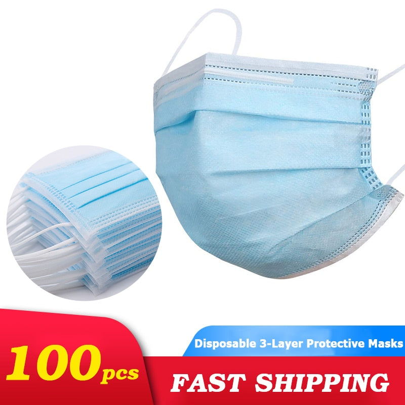 50 Pcs Masks 3 layer Disposable Face Mouth Mask Anti-dust Health Care Masks Earloop Protective Breathing Face Cover Mask - 9020shop